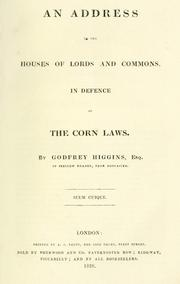 Cover of: An address to the Houses of Lords and Commons in defence of the corn laws