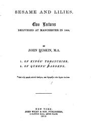 Cover of: Sesame and Lilies: Two Lectures Delivered at Manchester in 1864