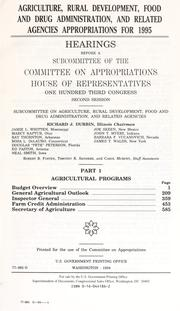 Cover of: Agriculture, Rural Development, Food and Drug Administration, and related agencies appropriations for 1995: hearings before a subcommittee of the Committee on Appropriations, House of Representatives, One Hundred Third Congress, second session