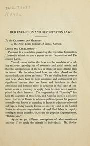 Cover of: American deportation and exclusion laws | Charles Recht