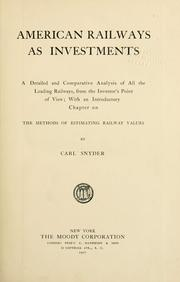 Cover of: American railways as investments