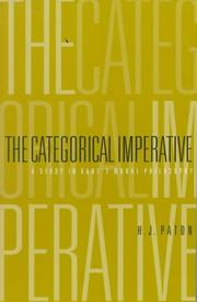 The categorical imperative by H. J. Paton