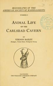 Cover of: Animal life of the Carlsbad cavern | Vernon Bailey
