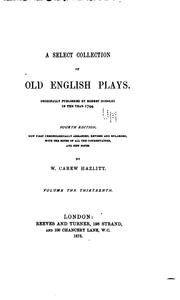 Cover of: A Select Collection of Old English Plays