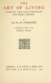 Cover of: The art of living | Friedrich Wilhelm Foerster