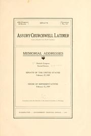Cover of: Asbury Churchwell Latimer (late a senator from South Carolina) | United States. 60th Congress, 2d session