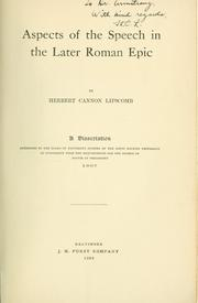 Aspects of the speech in the later Roman epic by Herbert Cannon Lipscomb