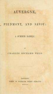Cover of: Auvergne, Piedmont, and Savoy