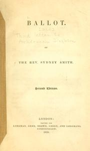 Cover of: Ballot [and] Third letter to Archdeacon Singleton