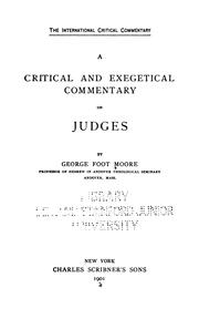 A Critical and Exegetical Commentary on Judges
