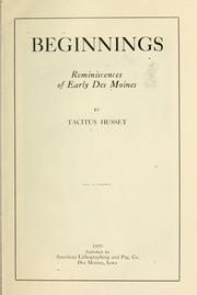 Cover of: Beginnings | Tacitus Hussey