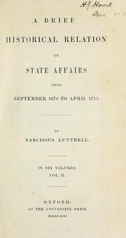 Cover of: A brief historical relation of state affairs