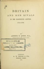 Cover of: Britain and her rivals in the eighteenth century, 1713-1789