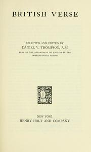 Cover of: British verse | Daniel Varney Thompson