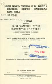 Budget process by United States. Congress. Joint Committee on the Organization of Congress.