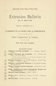 Cover of: Bulletin. | New York (state) University of. Division of Educational Extension