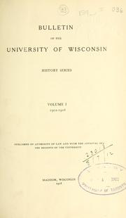 Cover of: Bulletin.  History series. | Wisconsin University of