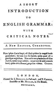 Cover of: A Short Introduction to English Grammar: With Critical Notes