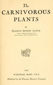 Cover of: The carnivorous plants, by Francis Ernest Lloyd ..