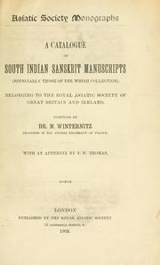 Cover of: A catalogue of south Indian Sanskrit manuscripts | Royal Asiatic Society of Great Britain and Ireland. Library.