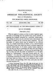 Proceedings of the American Philosophical Society Held at Philadelphia for .. by American Philosophical Society