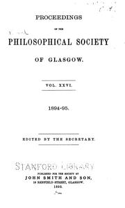 Proceedings of the Royal Philosophical Society of Glasgow by Royal Philosophical Society of Glasgow