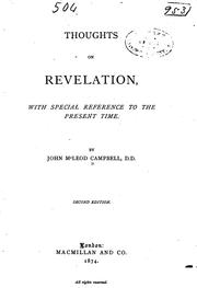 Cover of: Thoughts on Revelation, with Special Reference to the Present Time