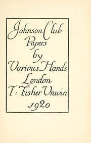 Cover of: Johnson club papers | Johnson Club (London, England)