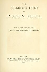Cover of: The collected poems of Roden Noel