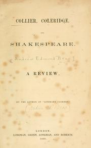Cover of: Collier, Coleridge, and Shakespeare. | Andrew Edmund Brae