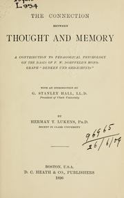 Cover of: connection between thought and memory | Herman T. Lukens