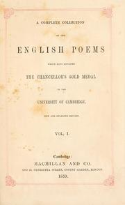 Cover of: complete collection of the English poems | University of Cambridge. Seatonian prize.
