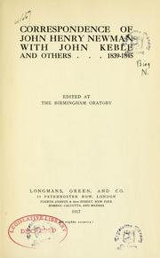Cover of: Correspondence of John Henry Newman with John Keble and others, 1839-1845 | John Henry Newman