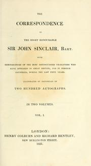 Cover of: The correspondence of the Right Honourable Sir John Sinclair