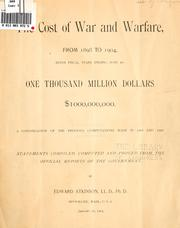 Cover of: The cost of war and warfare, from 1898 to 1904
