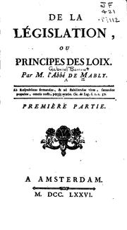 Cover of: De la législation, ou Principes de loix