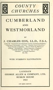 Cover of: Cumberland and Westmorland by J. Charles Cox
