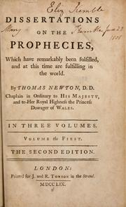 Cover of: Dissertations on the prophecies | Newton, Thomas