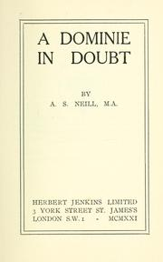Cover of: A dominie in doubt