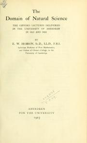 Cover of: The domain of natural science