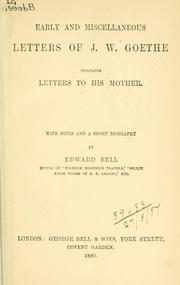 Cover of: Early and miscellaneous letters | Johann Wolfgang von Goethe