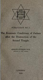 Cover of: The economic conditions of Judaea after the destruction of the Second Temple