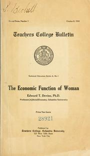 Cover of: The economic function of woman