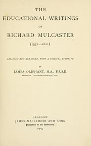 Cover of: The Educational writings of Richard Mulcaster (1532-16ll)