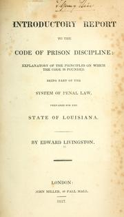 Cover of: Introductory report to the Code of prison discipline