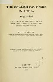 Cover of: The English factories in India, 1618-1669