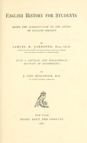 Cover of: English history for students | Gardiner, Samuel Rawson