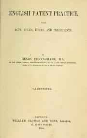 Cover of: English patent practice