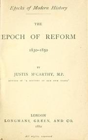 Cover of: The epoch of reform, 1830-1850