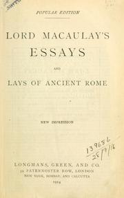 Cover of: Essays and lays of ancient Rome